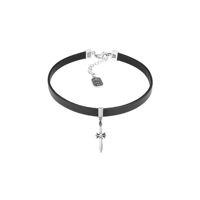 King Baby Leather Choker With Dagger
