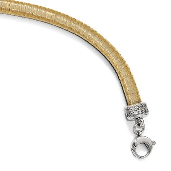 Leslie's Sterling Silver Gold-tone CZ with 1in ext. Bracelet