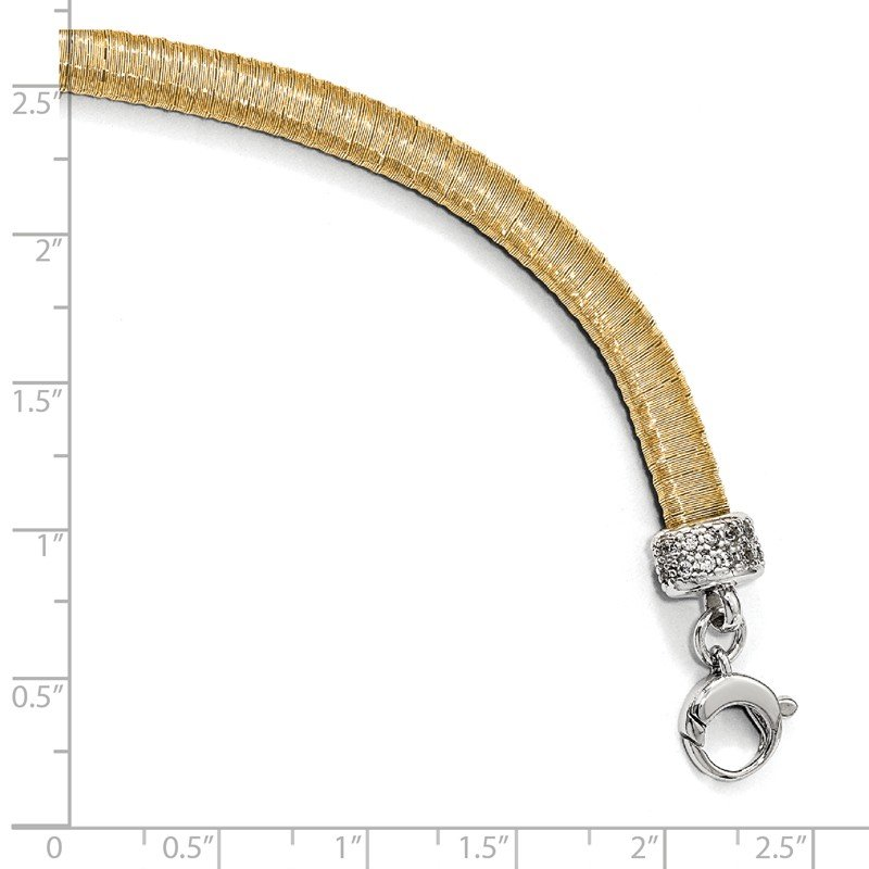 Leslie's Leslie's Sterling Silver Gold-tone CZ with 1in ext. Bracelet
