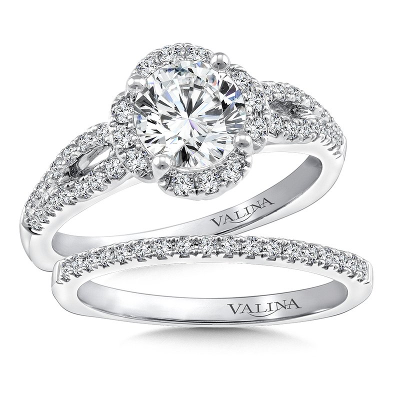 Valina Bridals Halo Engagement Ring Mounting in 14K White Gold (.29 ct. tw.)