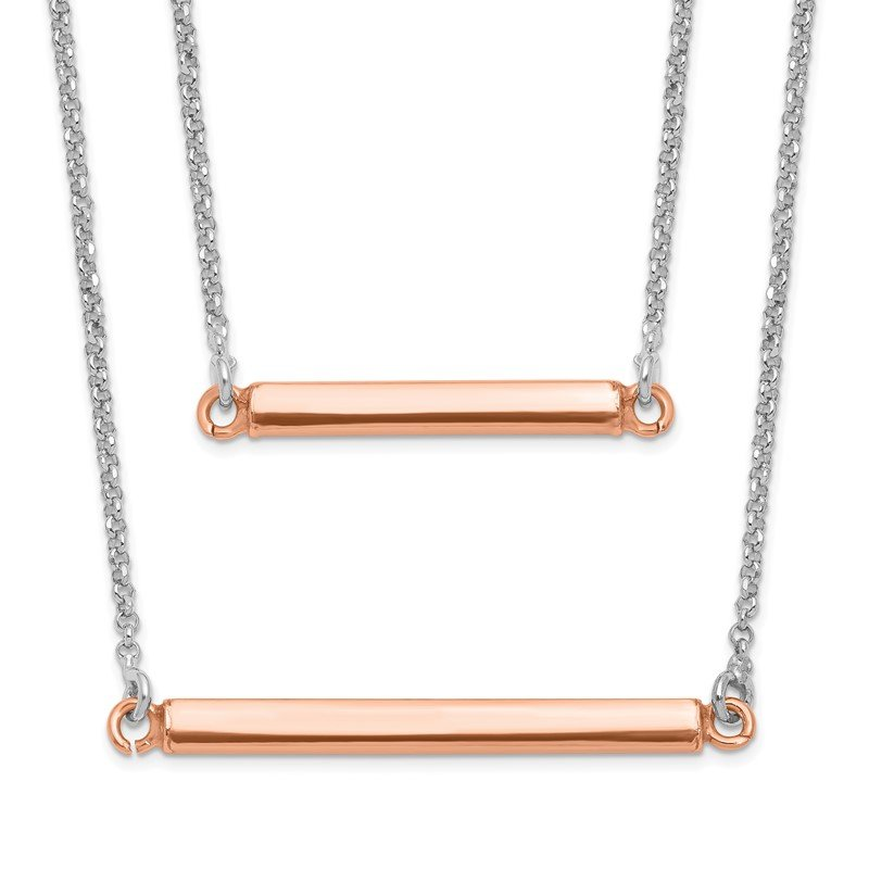Leslie's Leslie's Sterling Silver Fancy Double Rose-tone Bar w/2in ext. Necklace
