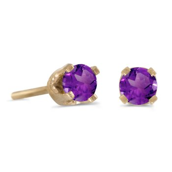 3 mm Petite Round Natural Amethyst Stud Earrings in 14k Yellow Gold