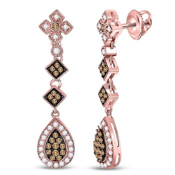 14kt Rose Gold Womens Round Brown Color Enhanced Diamond Dangle Earrings 7/8 Cttw