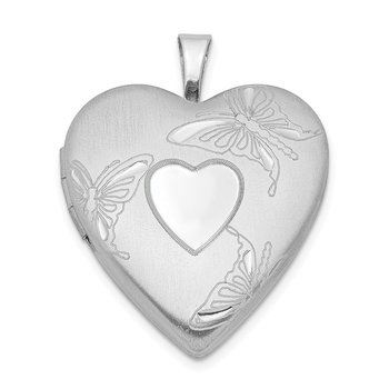 Sterling Silver Rhodium-plated 20mm D/C Butterflies Heart Locket