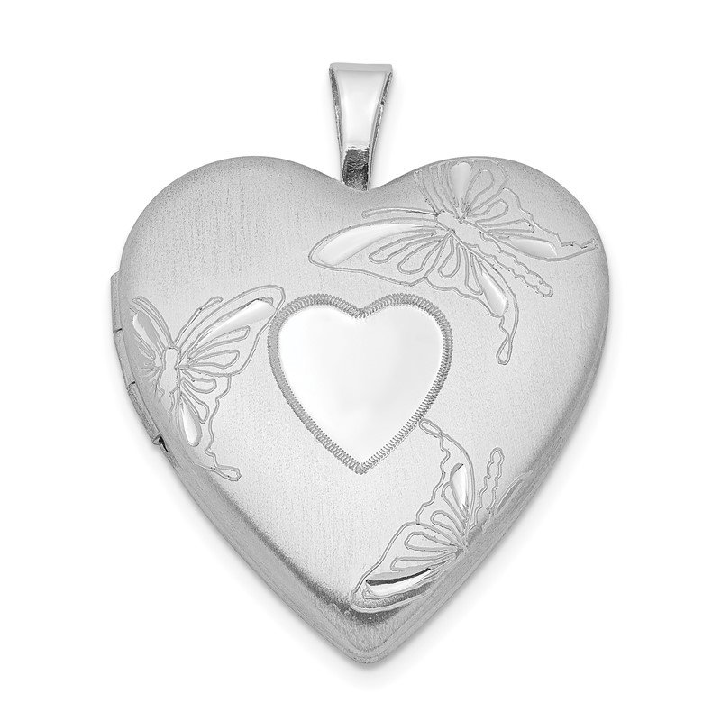 Quality Gold Sterling Silver Rhodium-plated 20mm D/C Butterflies Heart Locket
