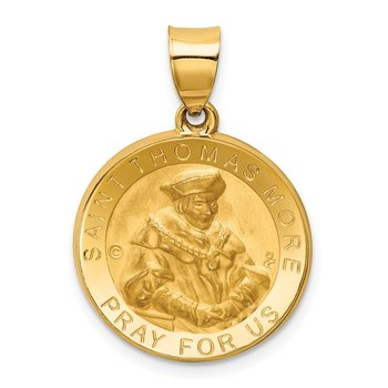 14K Polished / Satin St. Thomas More Hollow Medal Pendant