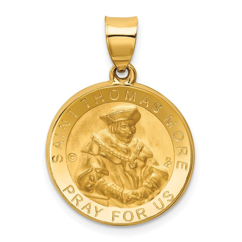 Quality Gold 14K Polished / Satin St. Thomas More Hollow Medal Pendant