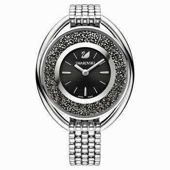 Crystalline Oval Watch, Metal bracelet, Black, Silver tone