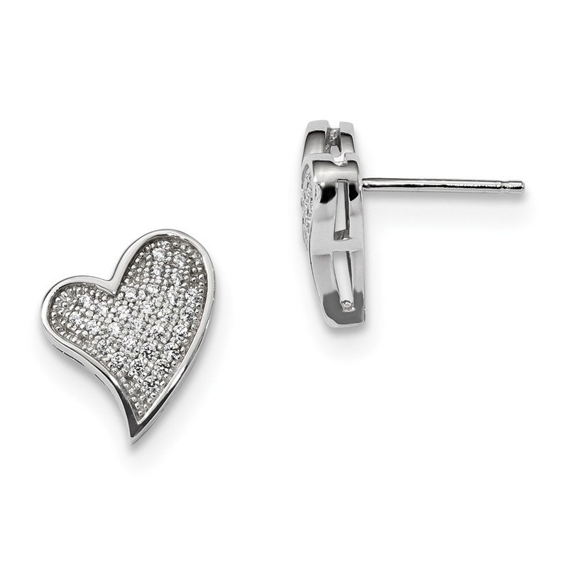 Quality Gold Sterling Silver & CZ Brilliant Embers Heart Post Earrings