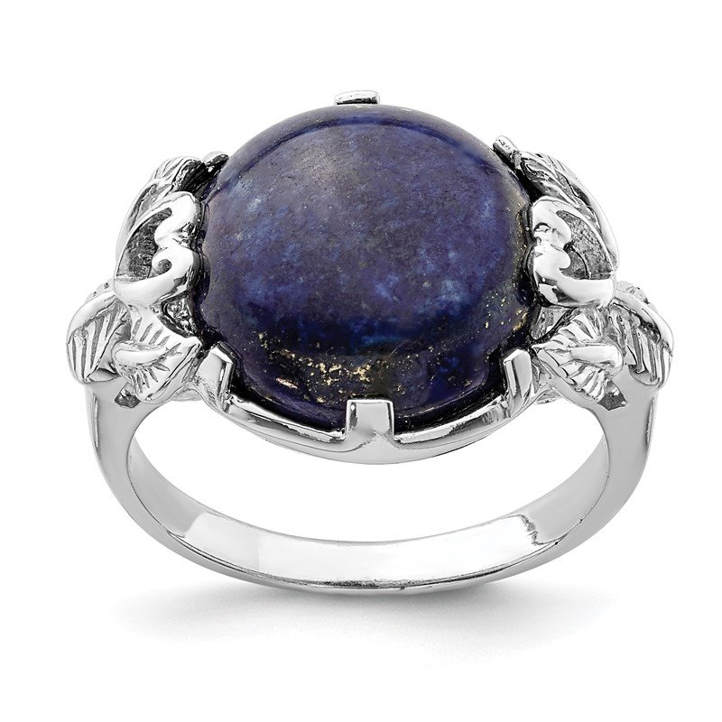 Quality Gold Sterling Silver Rhodium-plated w/Lapis Lazuli Ring