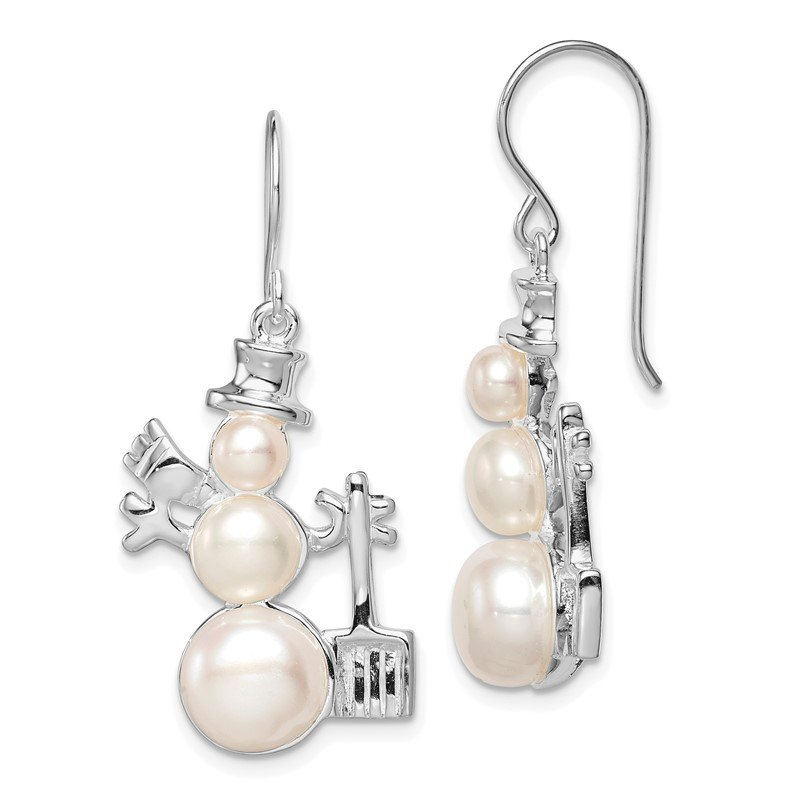 Quality Gold Sterling Silver FW Cultured Pearl Snowman Earrings