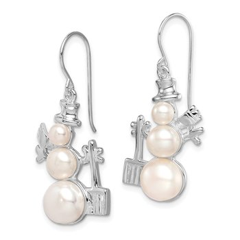 Sterling Silver FW Cultured Pearl Snowman Earrings