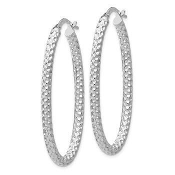 Leslie's Sterling Silver Polished &Textured Oval Hinged Hoop Earrings