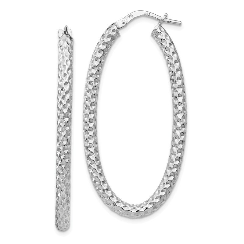 Leslie's Leslie's Sterling Silver Polished &Textured Oval Hinged Hoop Earrings