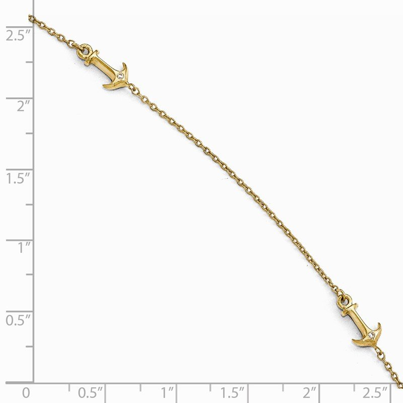 Leslie's Leslie's 14K CZ Polished Anchor with 1in ext. Anklet