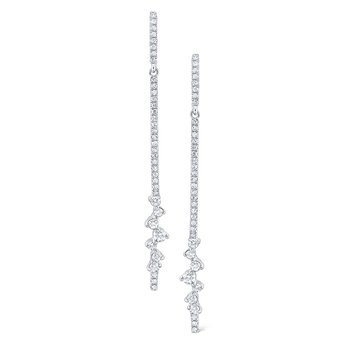 Diamond Line Earrings Set in 14 Kt. Gold
