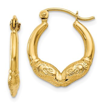 14k Ram Head Hoop Earrings