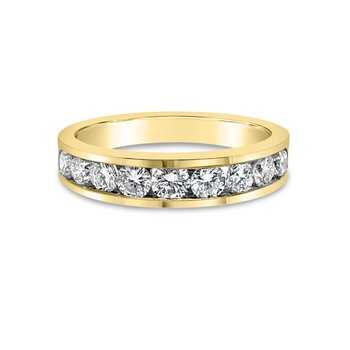 18K Yellow Gold Diamond Retro Channel Band