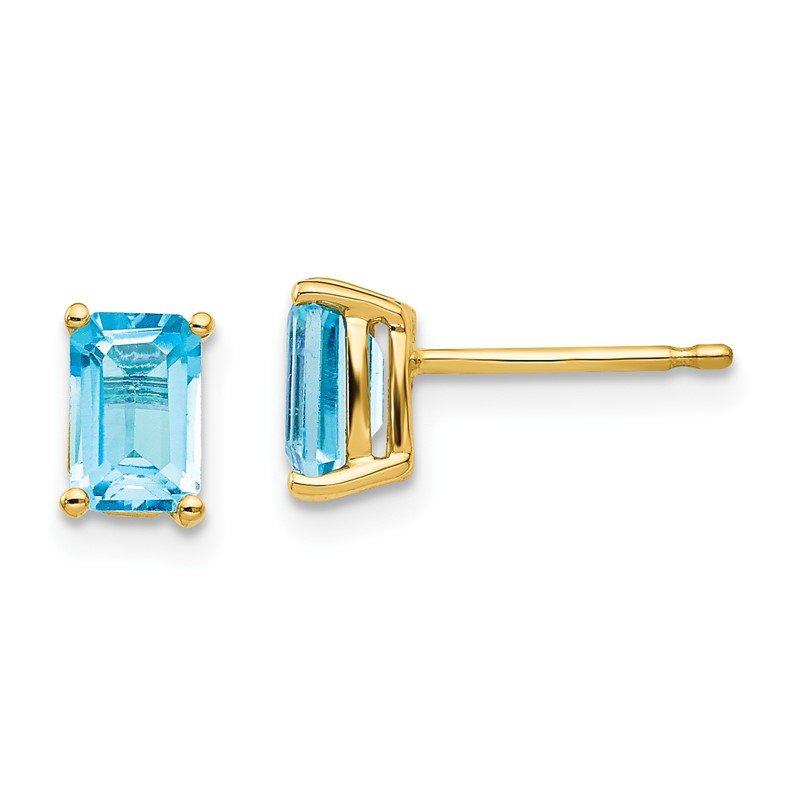 Quality Gold 14k 6x4mm Emerald Cut Blue Topaz Earrings