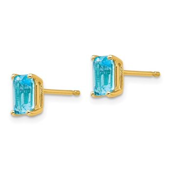 14k 6x4mm Emerald Cut Blue Topaz Earrings