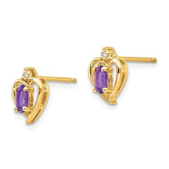 14k Amethyst and Diamond Heart Earrings