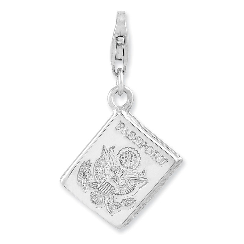 Quality Gold Sterling Silver Rhodium-plated 3-D Passport w/Lobster Clasp Charm