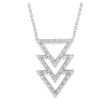 Diamond Triple Triangle Necklace in 14K White Gold with 41 Diamonds Weighing .27 ct tw