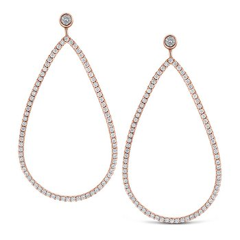 Diamond Large Teardrop Earrings in 14k Rose Gold with 154 Diamonds weighing 1.24ct tw.