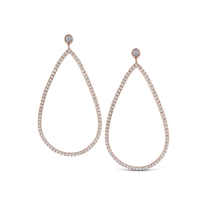 KC Designs Diamond Large Teardrop Earrings in 14k Rose Gold with 154 Diamonds weighing 1.24ct tw.