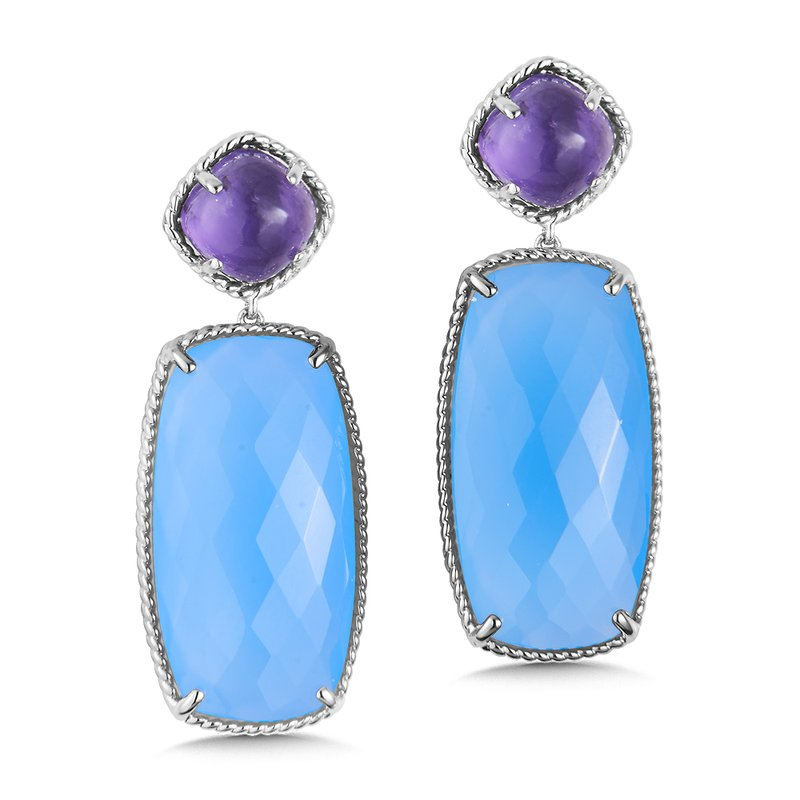 Colore Sg Sterling Silver Amethyst & Chalcedony Blue Topaz Drop Earrings