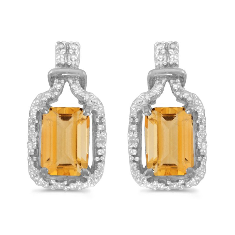 Color Merchants 14k White Gold Emerald-cut Citrine And Diamond Earrings