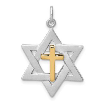Sterling Silver Rhodium-plated Gold Tone Cross Star of David Charm Pendant
