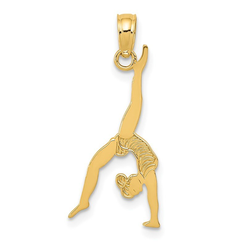 Quality Gold 14k Solid Polished Gymnast Pendant