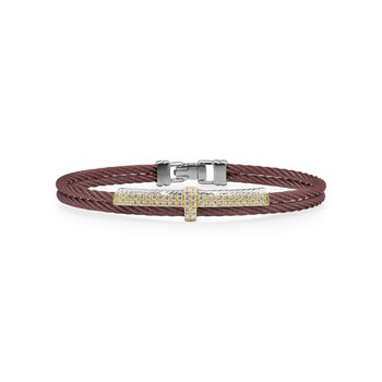 Burgundy Cable Petite Opulence Bracelet with 18kt Yellow Gold & Diamonds