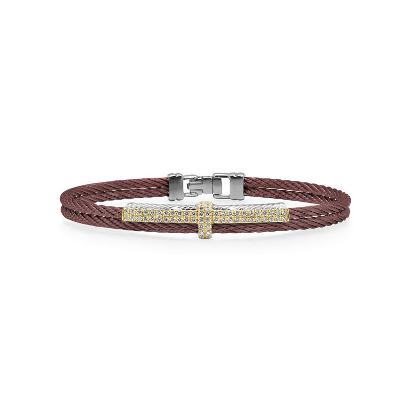ALOR Burgundy Cable Petite Opulence Bracelet with 18kt Yellow Gold & Diamonds