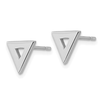 14k White Gold Open Triangle Post Earrings