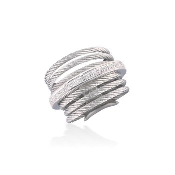 Grey 7 Row Cable Ring with 18kt White Gold & Diamonds