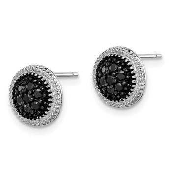 Sterling Silver Black CZ Round Post Earrings