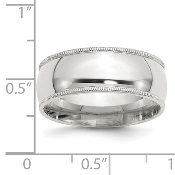 Sterling Silver 8mm Milgrain Comfort Fit Band