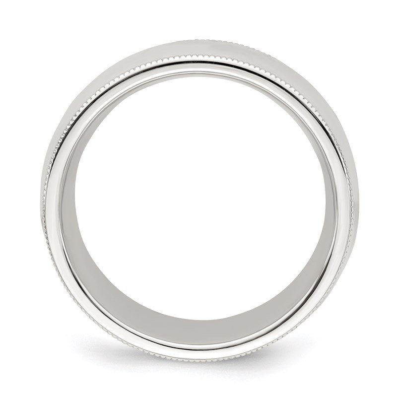 Quality Gold Sterling Silver 8mm Milgrain Comfort Fit Band