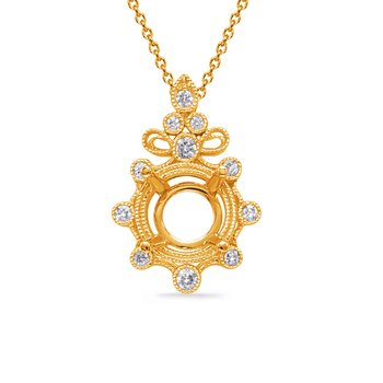 Yellow Gold Diamond Pendant for 3/4ct