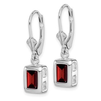 Sterling Silver Rhodium 7x5 Emerald Cut Garnet Leverback Earrings