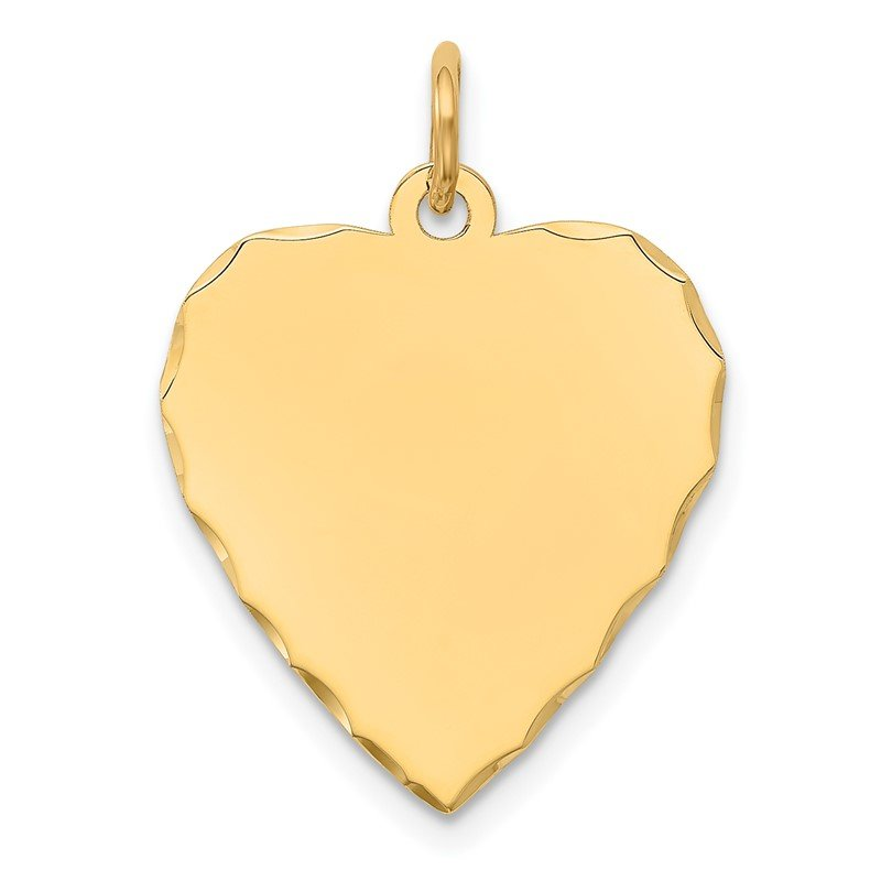 Quality Gold 14k Etched .027 Gauge Engravable Heart Disc Charm