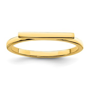 Sterling Silver Gold-tone Polished Bar Ring