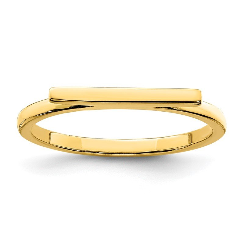 Quality Gold Sterling Silver Gold-tone Polished Bar Ring