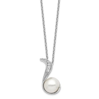 Cheryl M 18in Sterling Silver RH-plated Swirl CZ & White FWC Pearl Necklac