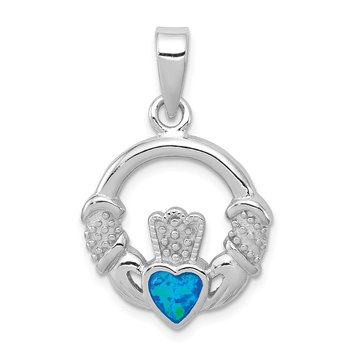 Sterling Silver Rhodium-plated Lab Created Blue Opal Inlay Claddagh Pendant
