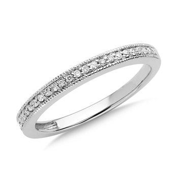 Pave set Diamond Stackable Ring in 10k White Gold (1/10ct. tw.)
