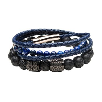 Black Lava Beads and Double Wrap Blue Leather with Lapis Beads Stackable Bracelets