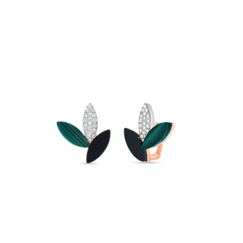 18KT GOLD PETAL EARRINGS WITH DIAMONDS, MALACHITE AND BLACK JADE